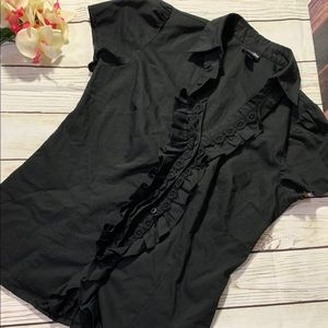 East 5th Top Black Blouse Ruffle Button Down Small